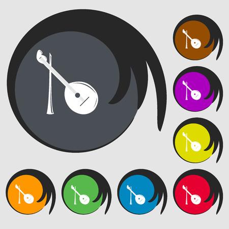 balalaika: Balalaika icon. Symbols on eight colored buttons. Vector illustration