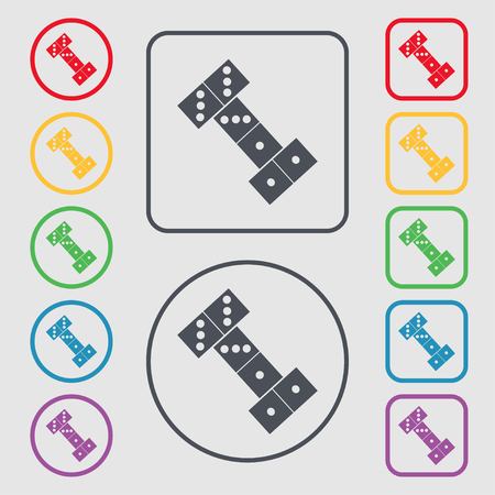 gambling stone: domino icon sign. symbol on the Round and square buttons with frame. Vector illustration