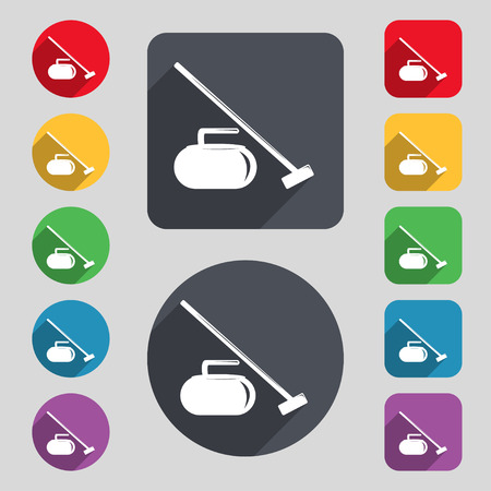 curling stone: The stone for curling icon sign. A set of 12 colored buttons and a long shadow. Flat design. Vector illustration