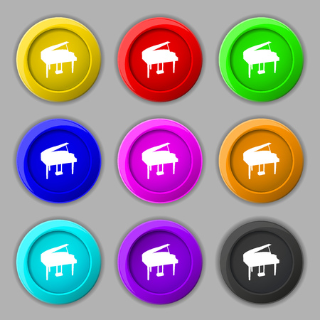 classical arts: Grand piano icon sign. symbol on nine round colourful buttons. Vector illustration