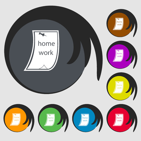 homework: Homework icon. Symbols on eight colored buttons. Vector illustration