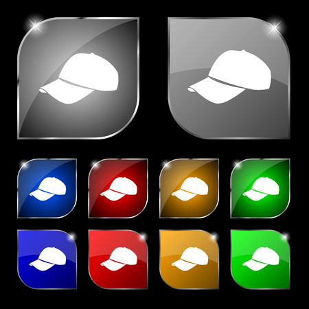 hat with visor: Baseball cap icon sign. Set of ten colorful buttons with glare. Vector illustration