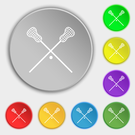 lax: Lacrosse Sticks crossed icon sign. Symbol on eight flat buttons. Vector illustration Illustration