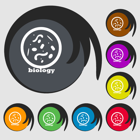 vibrio: bacteria and virus disease, biology cell under microscope icon. Symbols on eight colored buttons. Vector illustration Illustration