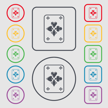 game cards icon sign. symbol on the Round and square buttons with frame. Vector illustration Vektoros illusztráció