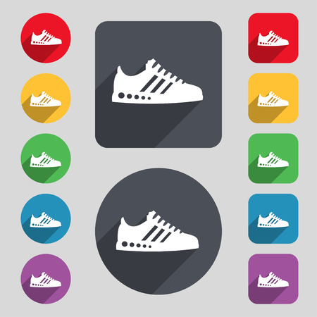 scamper: Sneakers icon sign. A set of 12 colored buttons and a long shadow. Flat design. Vector illustration