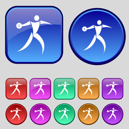 discus: Discus thrower icon sign. A set of twelve vintage buttons for your design. Vector illustration