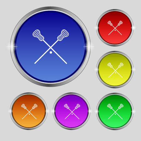 lax: Lacrosse Sticks crossed icon sign. Round symbol on bright colourful buttons. Vector illustration