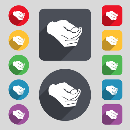 resolving: decision making by chance with coin, heads or tails icon sign. A set of 12 colored buttons and a long shadow. Flat design. Vector illustration