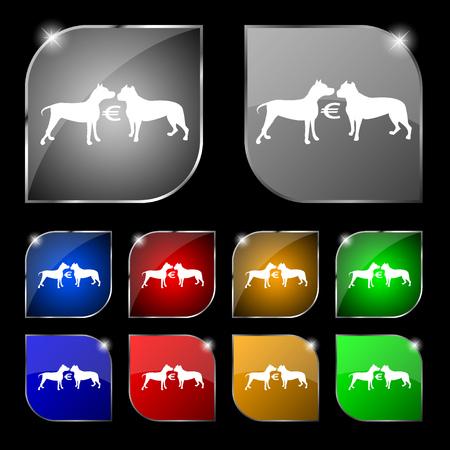 kampfhund: Wetten auf Hundekämpfe Symbol Zeichen. Satz von zehn bunte Tasten mit Blendung. Vektor-Illustration Illustration