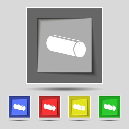 pencil case: pencil case icon sign on original five colored buttons. Vector illustration Illustration