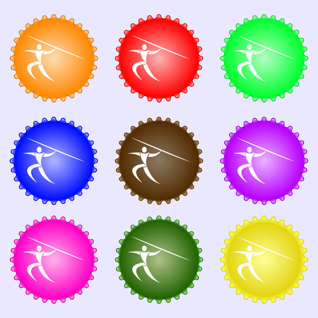 javelin: Summer sports, Javelin throw icon sign. Big set of colorful, diverse, high-quality buttons. Vector illustration