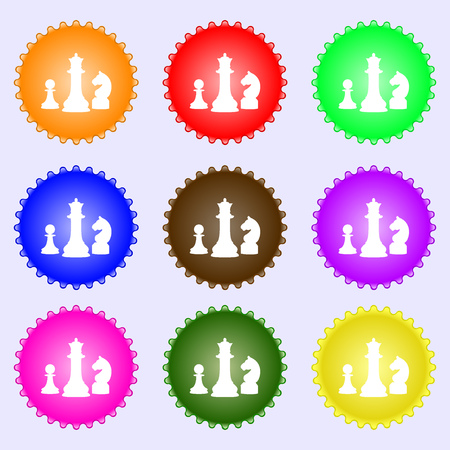 sport mats: chess Game icon sign. Big set of colorful, diverse, high-quality buttons. Vector illustration Illustration