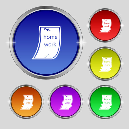 homework: Homework icon sign. Round symbol on bright colourful buttons. Vector illustration