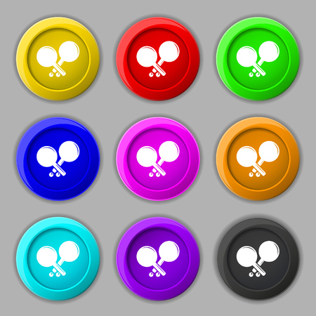 racquetball: Tennis rocket icon sign. symbol on nine round colourful buttons. Vector illustration