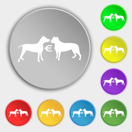 Betting on dog fighting icon sign. Symbol on eight flat buttons. Vector illustration