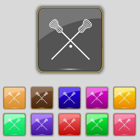 lax: Lacrosse Sticks crossed icon sign. Set with eleven colored buttons for your site. Vector illustration Illustration
