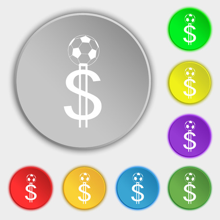 betting: betting on football, Money Collector, bookmaker icon sign. Symbol on eight flat buttons. Vector illustration