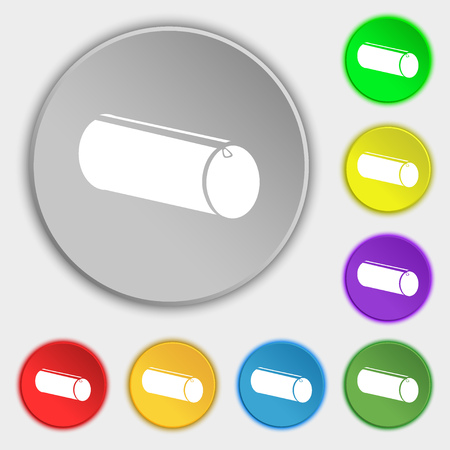pencil case: pencil case icon sign. Symbol on eight flat buttons. Vector illustration
