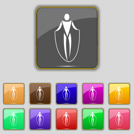 jump rope: jump rope icon sign. Set with eleven colored buttons for your site. Vector illustration