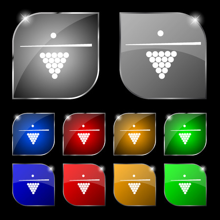 pool game: Billiard pool game equipment icon sign. Set of ten colorful buttons with glare. Vector illustration