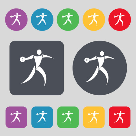 discus: Discus thrower icon sign. A set of 12 colored buttons. Flat design. Vector illustration