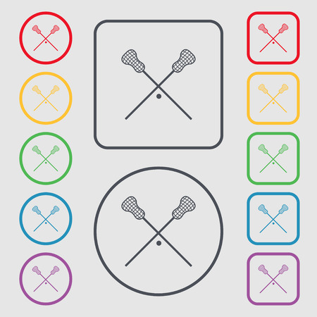lax: Lacrosse Sticks crossed icon sign. symbol on the Round and square buttons with frame. Vector illustration Illustration