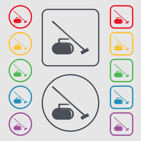 curling stone: The stone for curling icon sign. symbol on the Round and square buttons with frame. Vector illustration