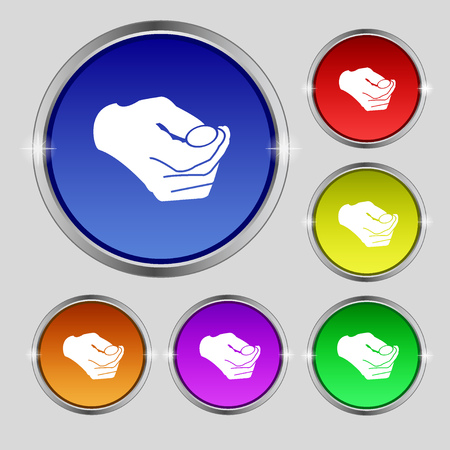 resolving: decision making by chance with coin, heads or tails icon sign. Round symbol on bright colourful buttons. Vector illustration