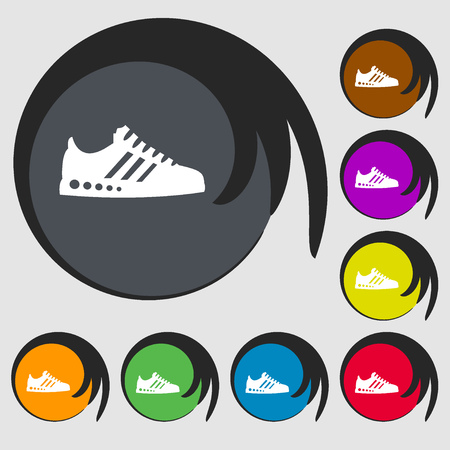 scamper: Sneakers icon. Symbols on eight colored buttons. Vector illustration