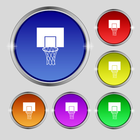 backboard: Basketball backboard icon sign. Round symbol on bright colourful buttons. Vector illustration Illustration