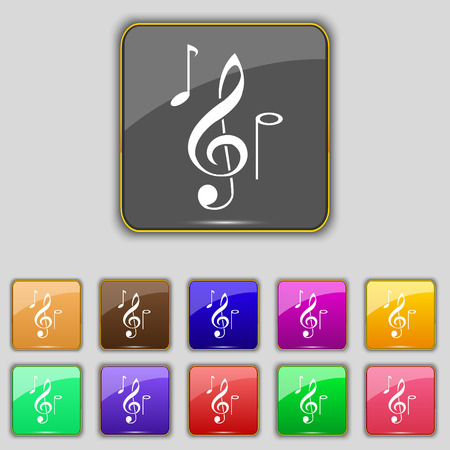crotchets: musical notes icon sign. Set with eleven colored buttons for your site. Vector illustration