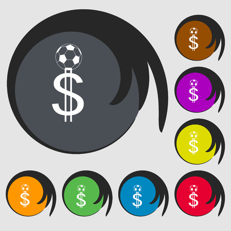 collector: betting on football, Money Collector, bookmaker icon. Symbols on eight colored buttons. Vector illustration