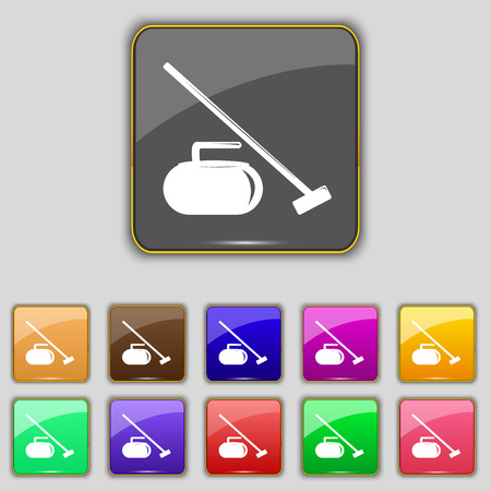 curling stone: The stone for curling icon sign. Set with eleven colored buttons for your site. Vector illustration