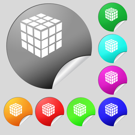 cube puzzle: A three sided cube puzzle box in 3D icon sign. Set of eight multi colored round buttons, stickers. Vector illustration Illustration