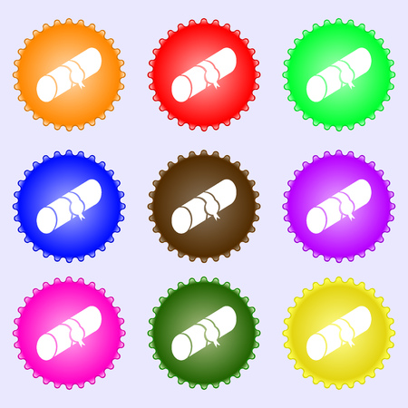 pencil case: pencil case icon sign. Big set of colorful, diverse, high-quality buttons. Vector illustration