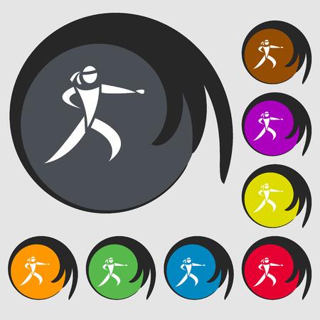 jujitsu: Karate kick icon. Symbols on eight colored buttons. Vector illustration Illustration