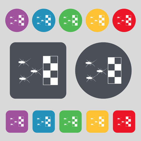 crawly: cockroach races icon sign. A set of 12 colored buttons. Flat design. Vector illustration