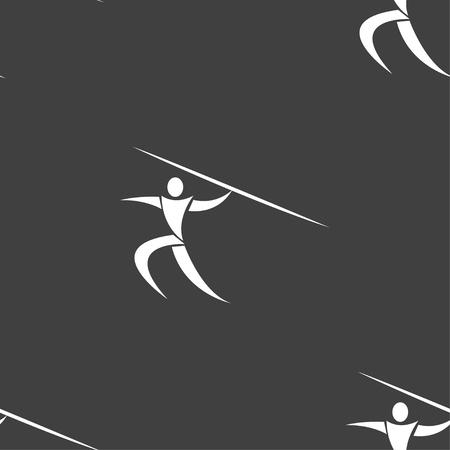 lanzamiento de jabalina: Deportes de verano, lanzamiento de jabalina icono de la muestra. patrón transparente sobre un fondo gris. ilustración vectorial