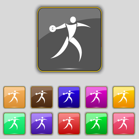 discus: Discus thrower icon sign. Set with eleven colored buttons for your site. Vector illustration