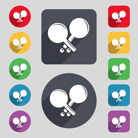 racquetball: Tenis icono de la muestra de cohetes. Un conjunto de 12 botones de colores y una larga sombra. Diseño plano. ilustración vectorial