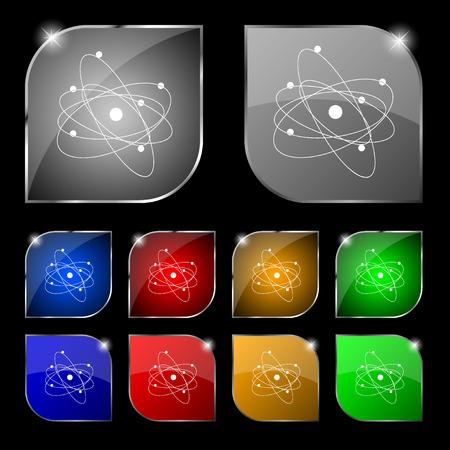 big bang: physics, atom, big bang icon sign. Set of ten colorful buttons with glare. Vector illustration