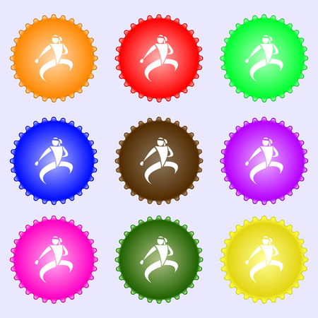 jujitsu: Karate kick icon sign. Big set of colorful, diverse, high-quality buttons. Vector illustration