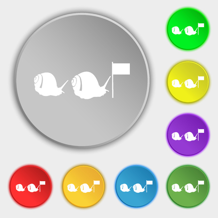 attainment: Fast snail icon sign. Symbol on eight flat buttons. Vector illustration