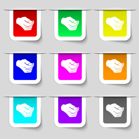 resolving: decision making by chance with coin, heads or tails icon sign. Set of multicolored modern labels for your design. Vector illustration
