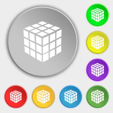 cube puzzle: A three sided cube puzzle box in 3D icon sign. Symbol on eight flat buttons. Vector illustration Illustration