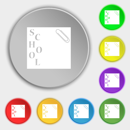 eight note: reminder sticker, note icon sign. Symbol on eight flat buttons. Vector illustration Illustration