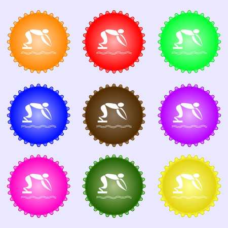 diving board: Summer sports, diving icon sign. Big set of colorful, diverse, high-quality buttons. Vector illustration