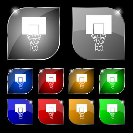 backboard: Basketball backboard icon sign. Set of ten colorful buttons with glare. Vector illustration Illustration
