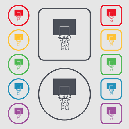 backboard: Basketball backboard icon sign. symbol on the Round and square buttons with frame. Vector illustration Illustration